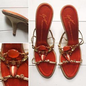 Orange jeweled sandals